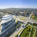 Panorama from above of modern part of Krakow, Poland, Europe