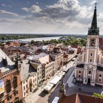 Poland - Torun, city divided by Vistula river between Pomerania and Kuyavia regions. Old town skyline - aerial view from town hall tower. The medieval old town is a UNESCO World Heritage Site.